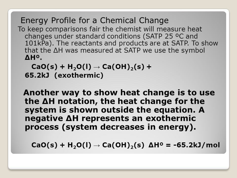 Energy Profile for a Chemical Change