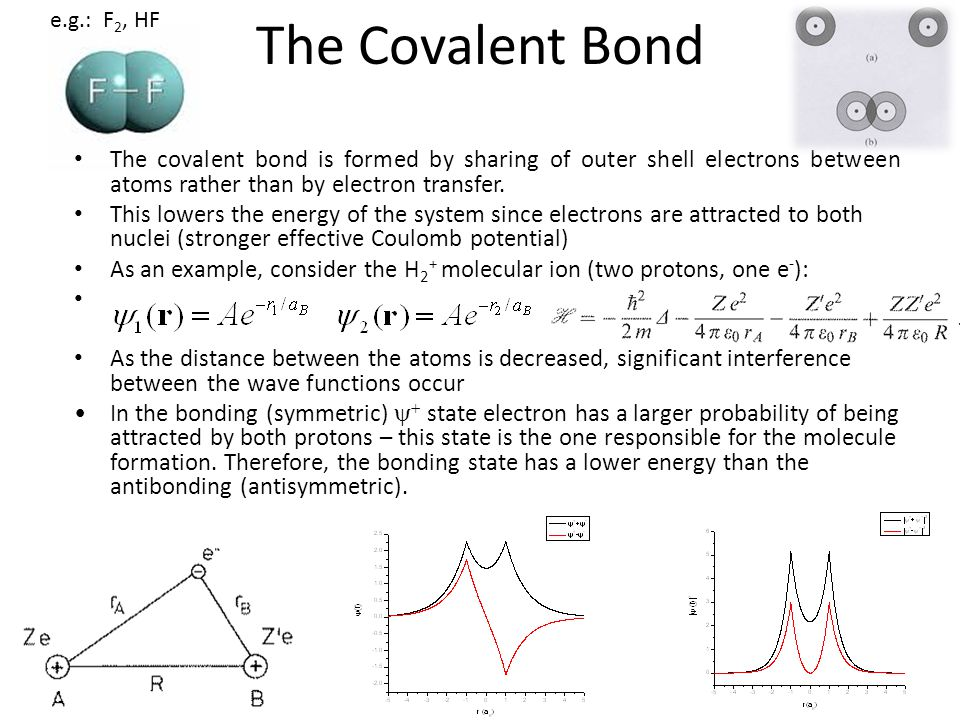 The Covalent Bond e.g.: F2, HF. The covalent bond is formed by sharing of outer shell electrons between atoms rather than by electron transfer.