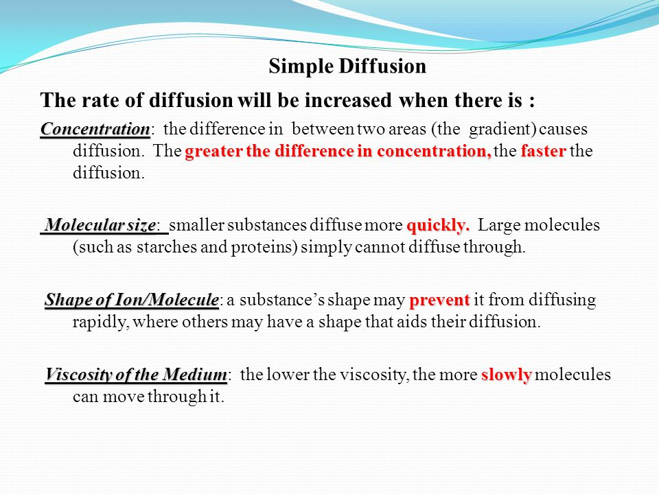 Simple Diffusion The rate of diffusion will be increased when there is :