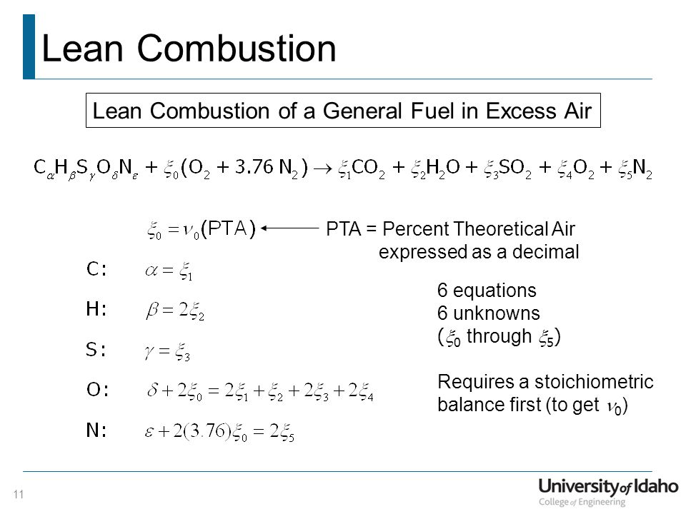 Lean Combustion Lean Combustion of a General Fuel in Excess Air