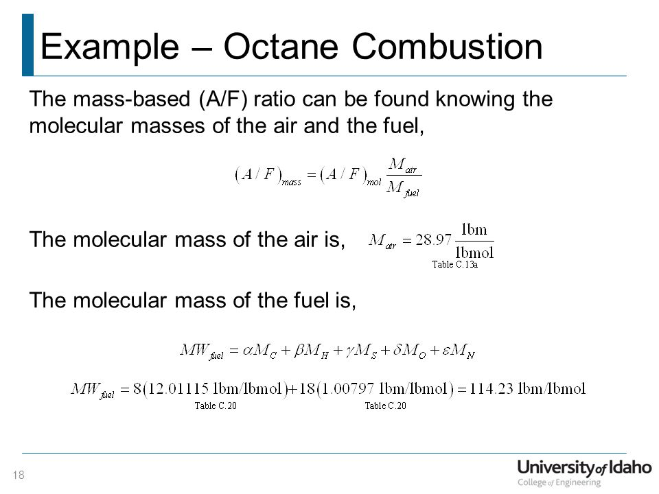 Example – Octane Combustion
