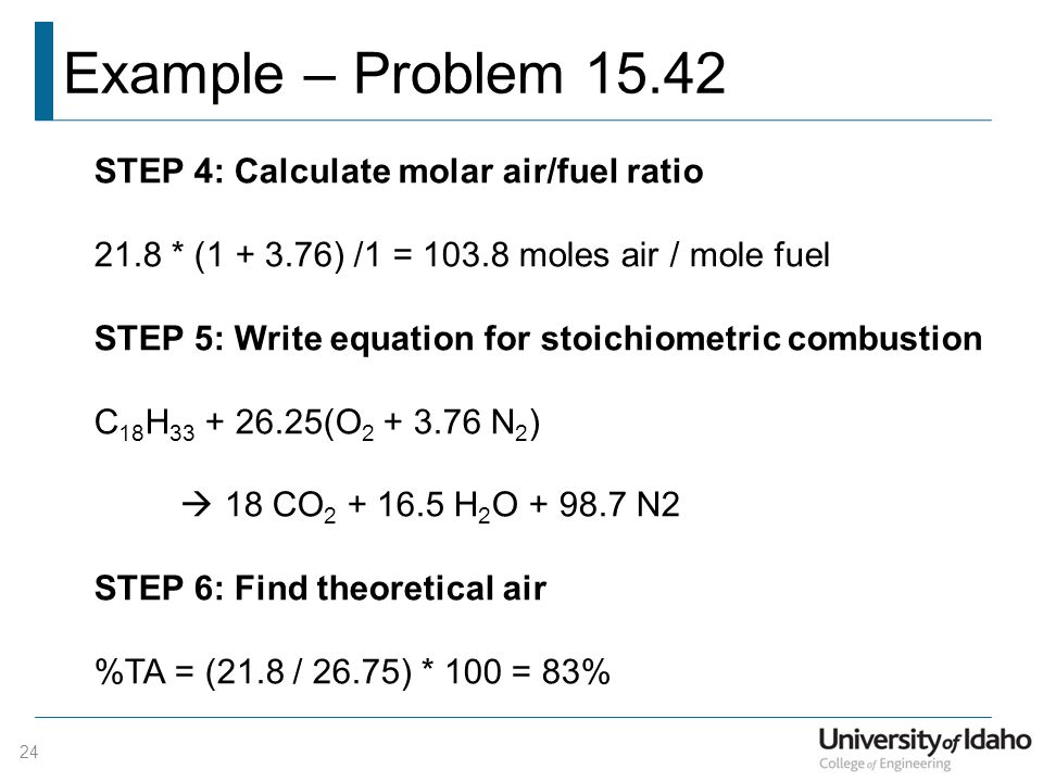 Example – Problem 15.42 STEP 4: Calculate molar air/fuel ratio
