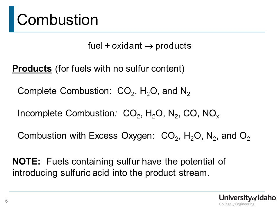 Combustion Products (for fuels with no sulfur content)