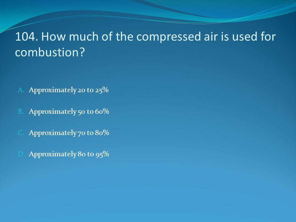 104. How much of the compressed air is used for combustion