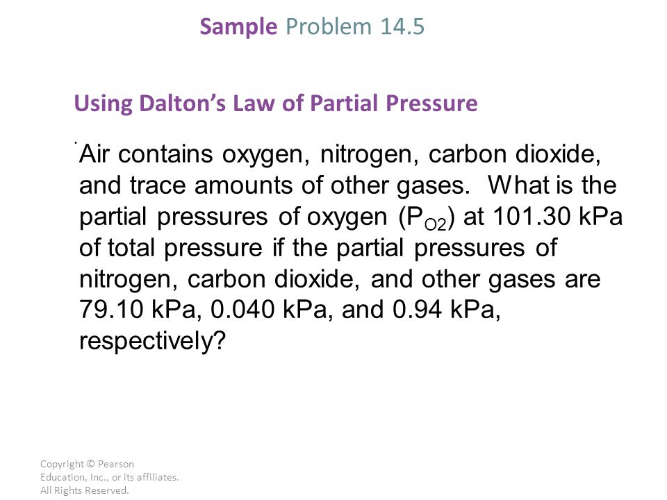 Using Dalton's Law of Partial Pressure