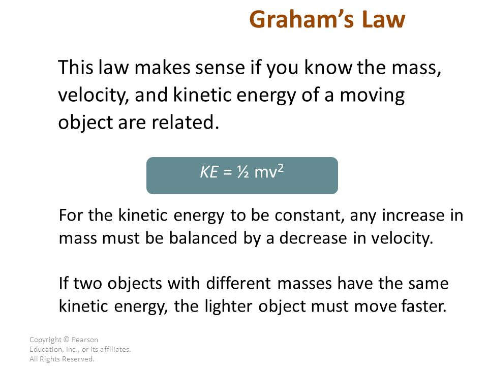 Graham's Law This law makes sense if you know the mass, velocity, and kinetic energy of a moving object are related.