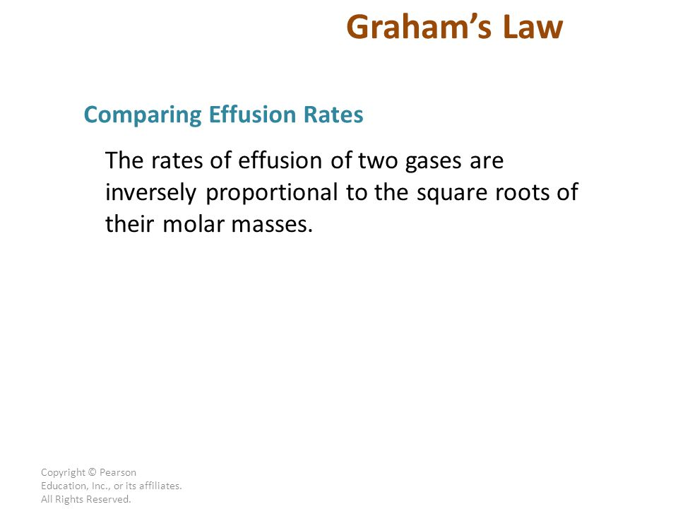 √ = Graham's Law Comparing Effusion Rates