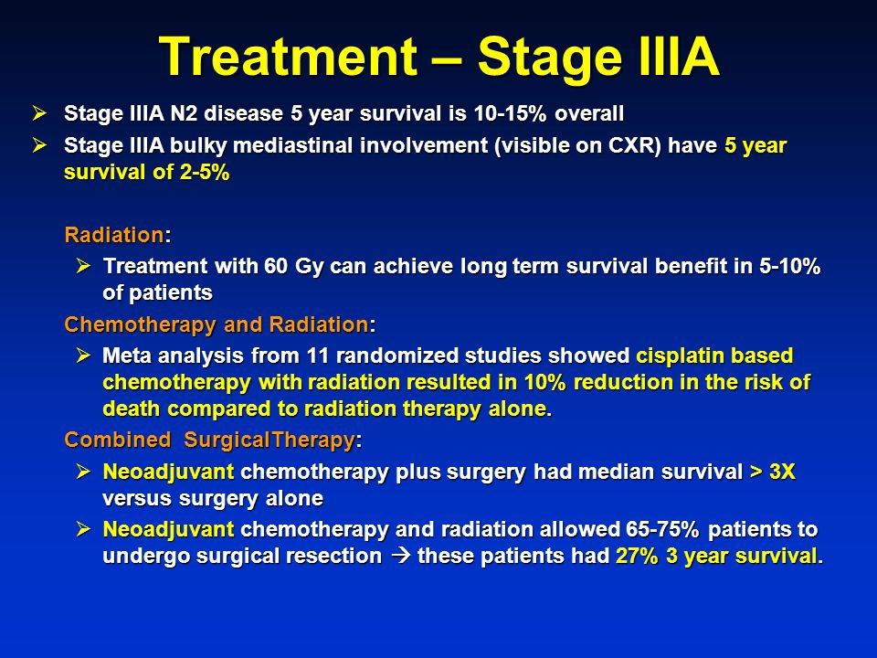 Treatment – Stage IIIA Stage IIIA N2 disease 5 year survival is 10-15% overall.
