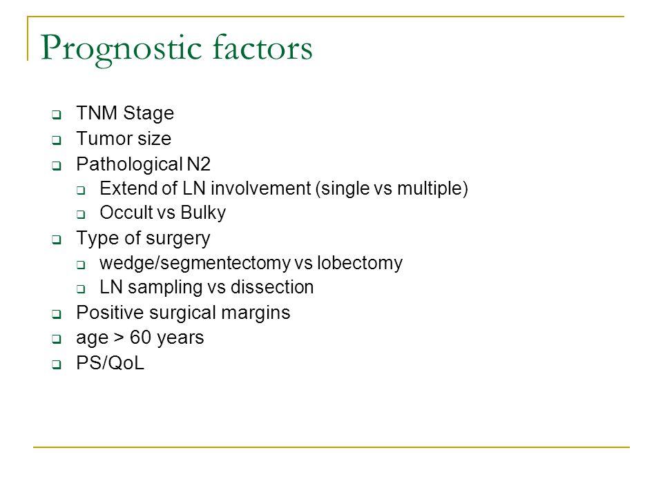 Prognostic factors TNM Stage Tumor size Pathological N2