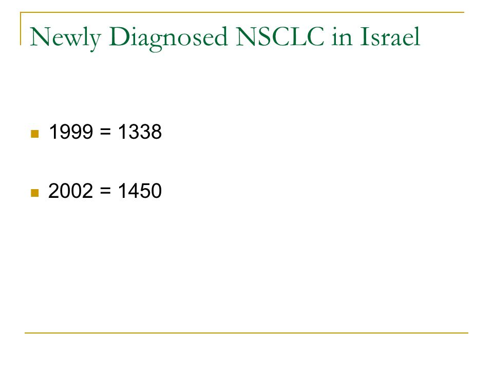 Newly Diagnosed NSCLC in Israel