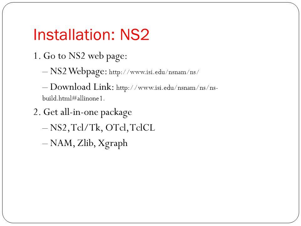 Installation: NS2
