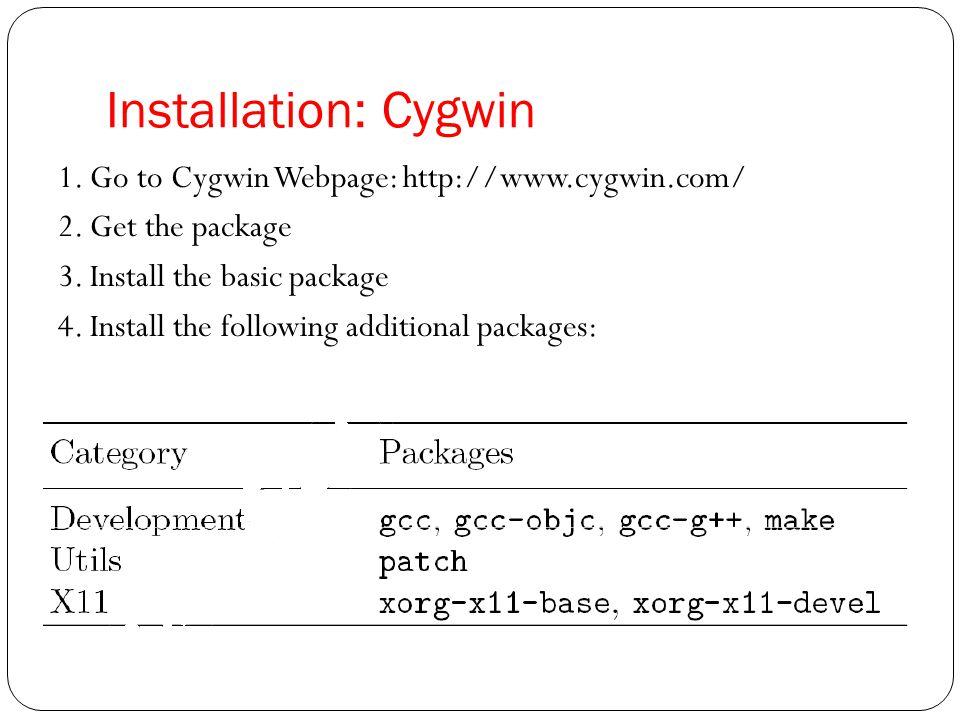 Installation: Cygwin