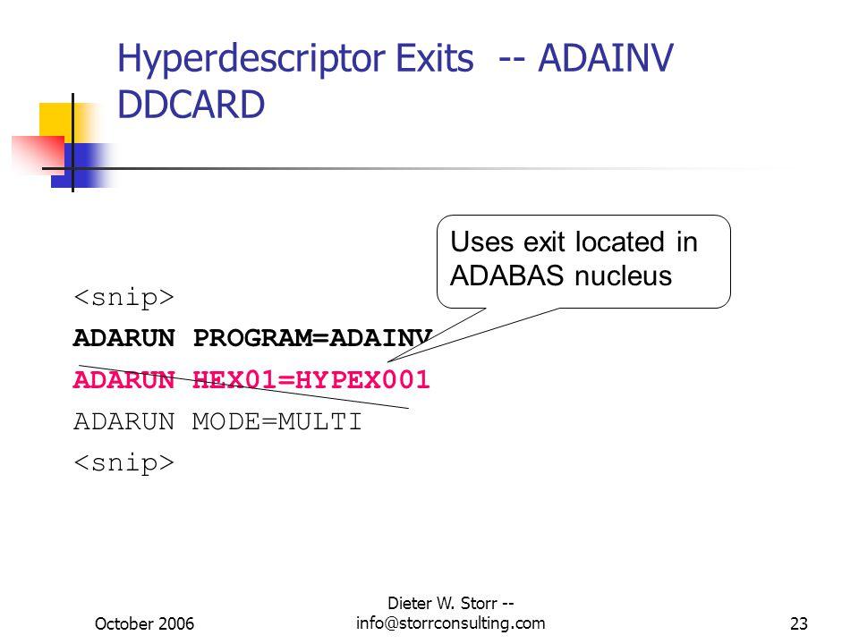 Hyperdescriptor Exits -- ADAINV DDCARD