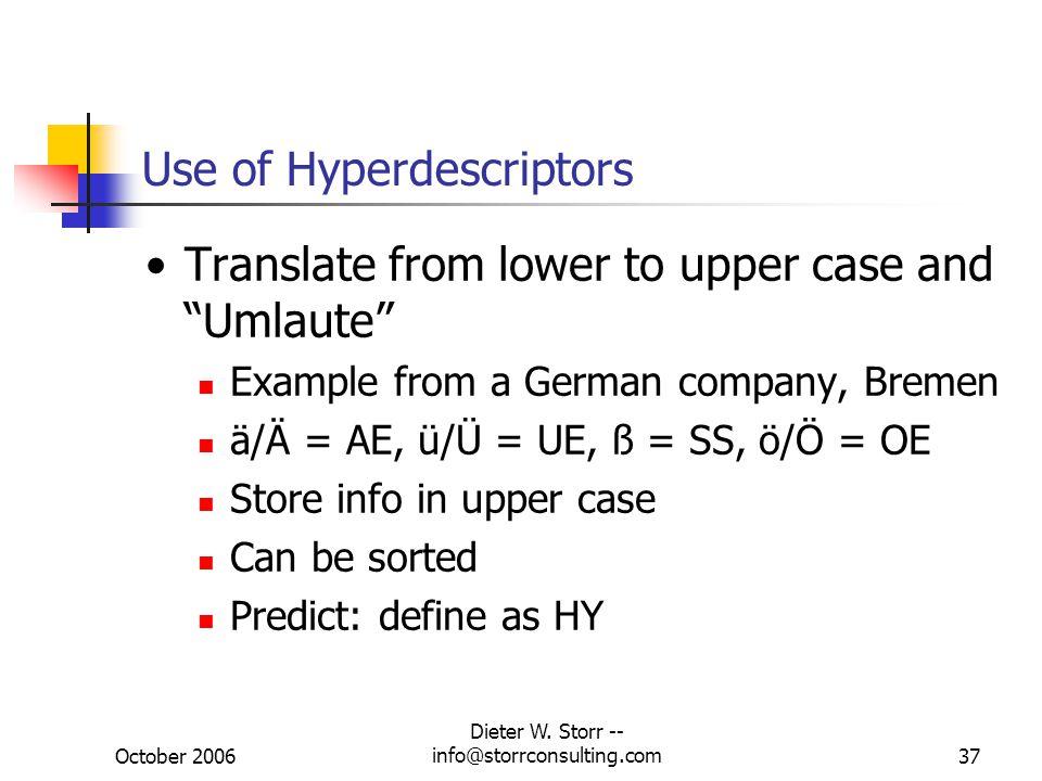 Use of Hyperdescriptors