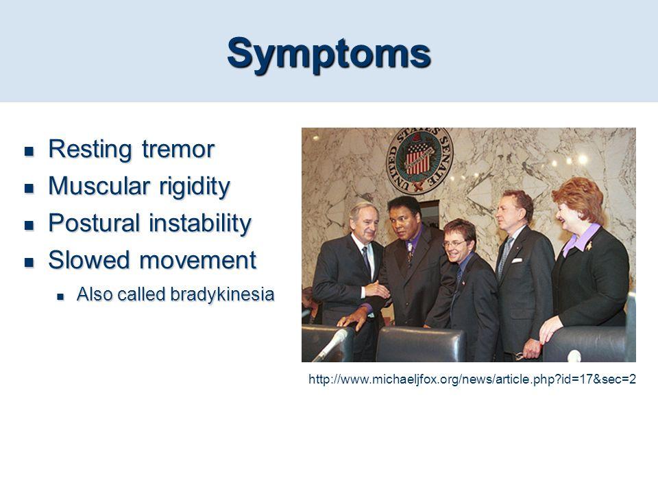 Symptoms Resting tremor Muscular rigidity Postural instability