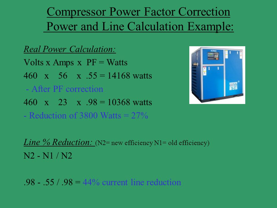 Compressor Power Factor Correction Power and Line Calculation Example: