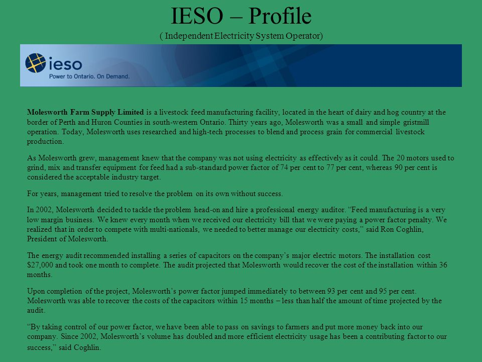IESO – Profile ( Independent Electricity System Operator)