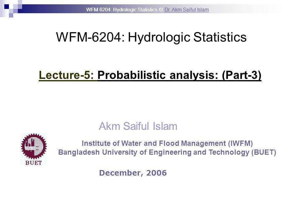WFM-6204: Hydrologic Statistics