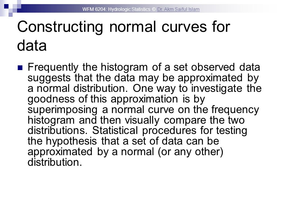 Constructing normal curves for data