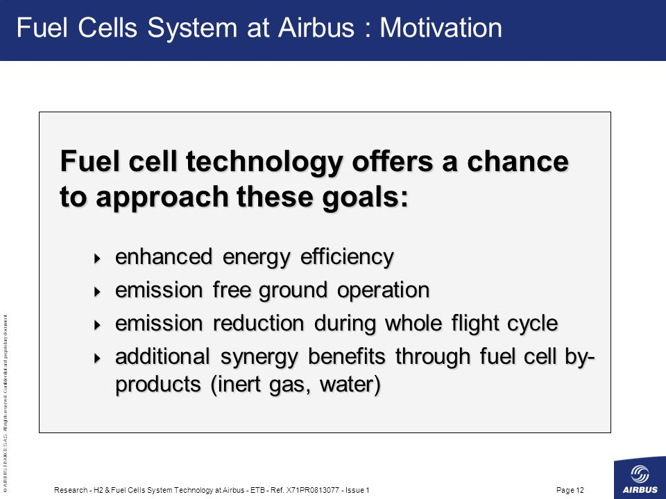 Fuel Cells System at Airbus : Motivation