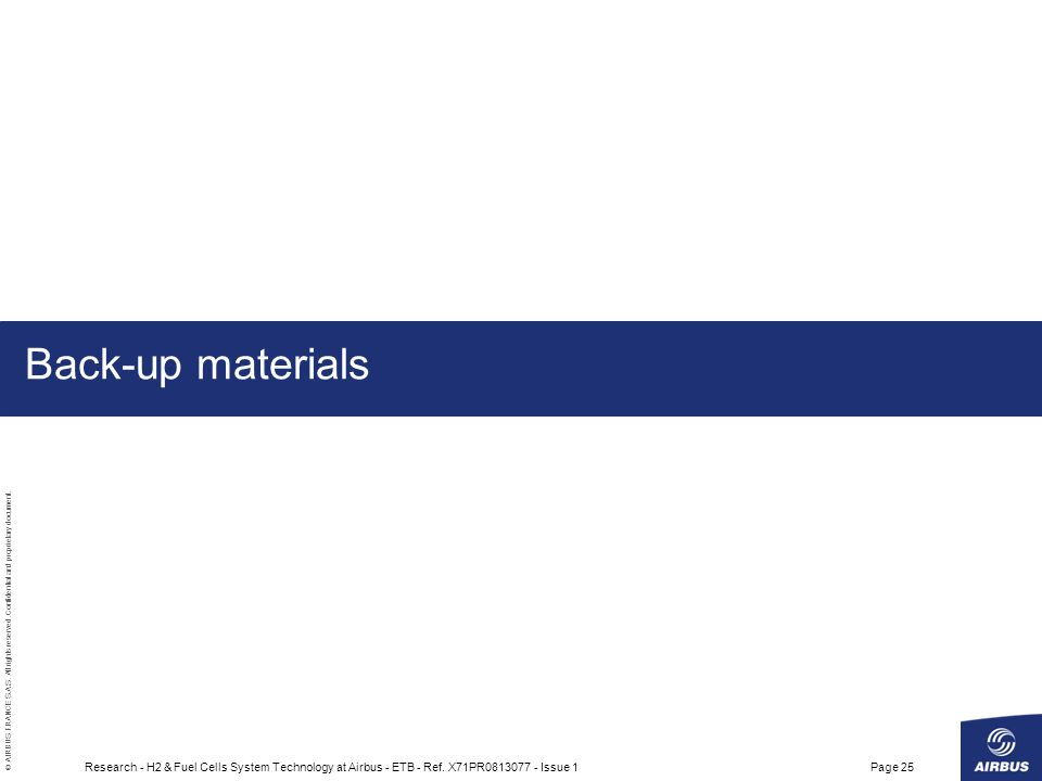 Back-up materials Research - H2 & Fuel Cells System Technology at Airbus - ETB - Ref.