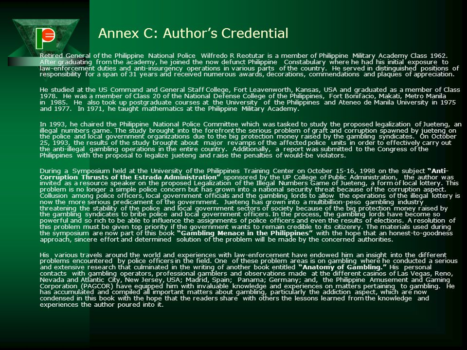 Annex C: Author's Credential