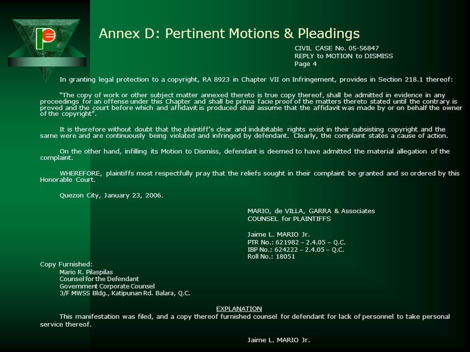 Annex D: Pertinent Motions & Pleadings