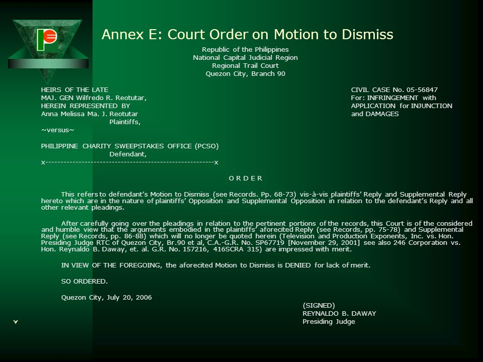 Annex E: Court Order on Motion to Dismiss