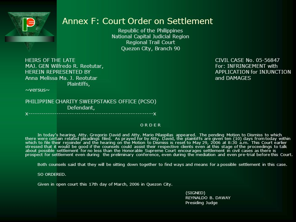 Annex F: Court Order on Settlement