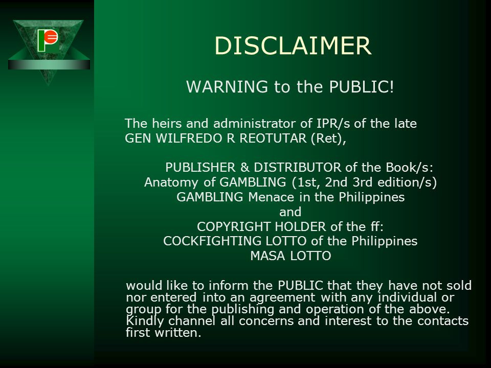 DISCLAIMER WARNING to the PUBLIC!