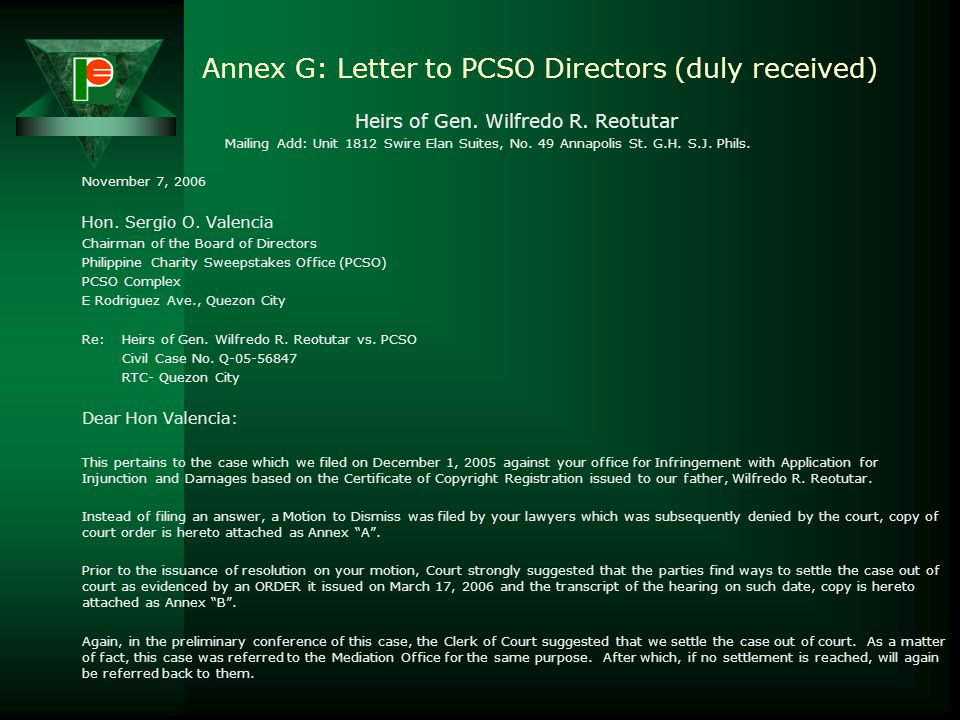 Annex G: Letter to PCSO Directors (duly received)