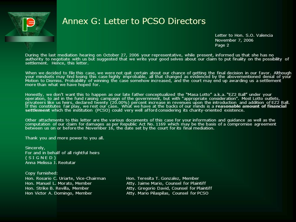 Annex G: Letter to PCSO Directors