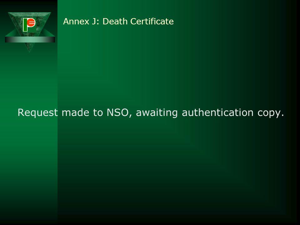 Annex J: Death Certificate
