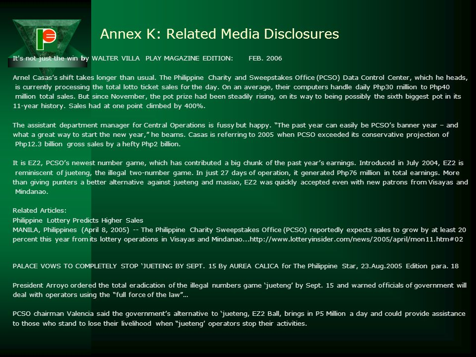 Annex K: Related Media Disclosures