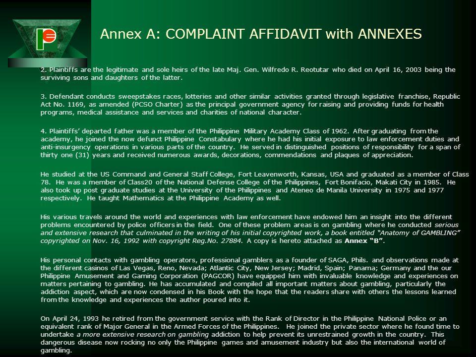 Annex A: COMPLAINT AFFIDAVIT with ANNEXES