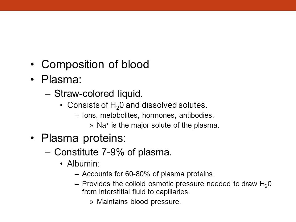 Composition of Blood Composition of blood Plasma: Plasma proteins: