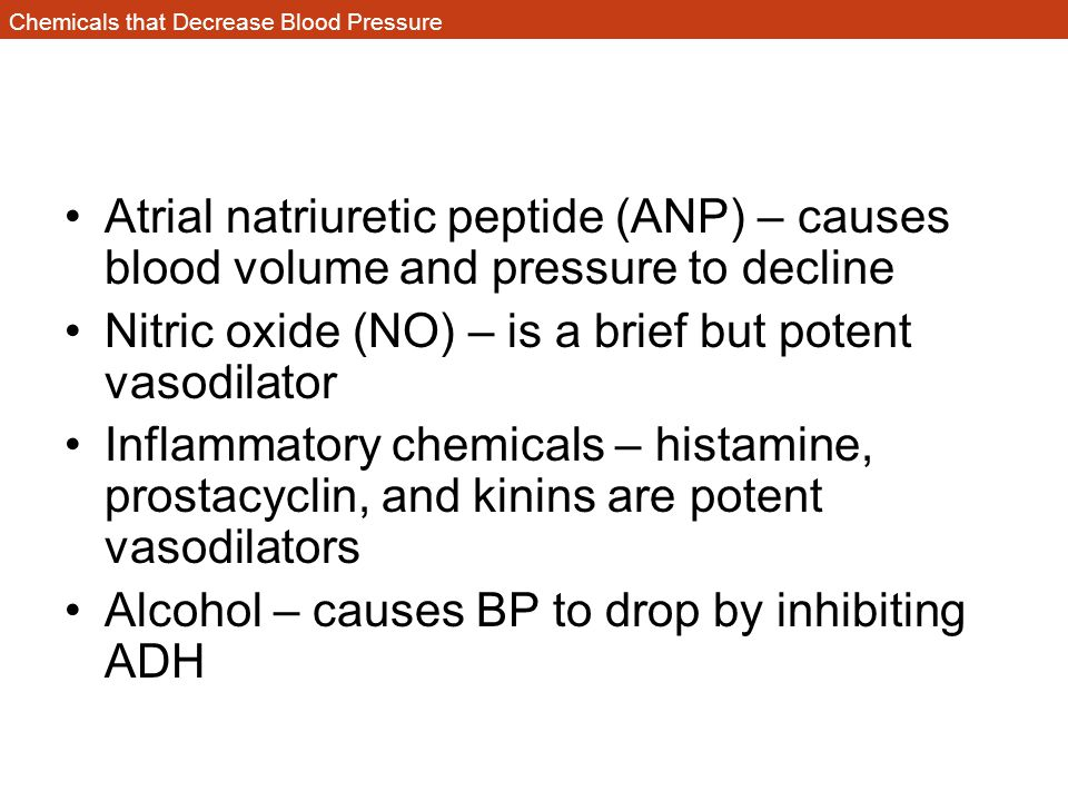 Chemicals that Decrease Blood Pressure