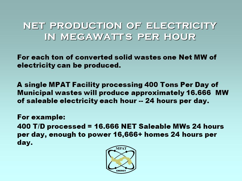 NET PRODUCTION OF ELECTRICITY