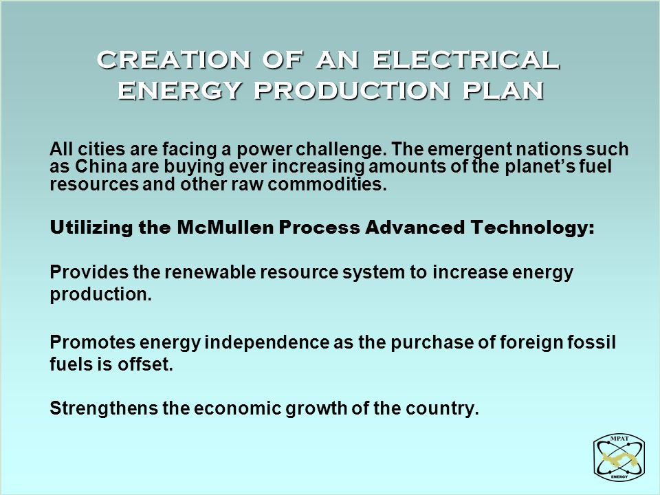 CREATION OF AN ELECTRICAL ENERGY PRODUCTION PLAN