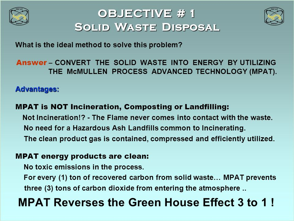 OBJECTIVE # 1 Solid Waste Disposal