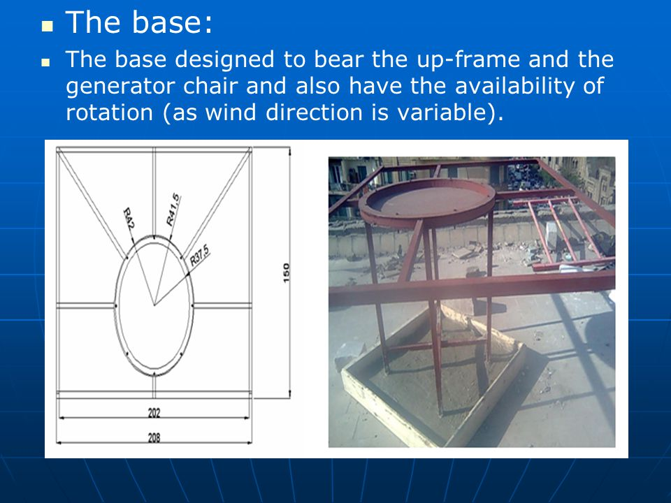 The base: The base designed to bear the up-frame and the generator chair and also have the availability of rotation (as wind direction is variable).
