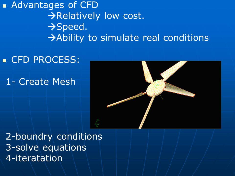 Advantages of CFD Relatively low cost. Speed. Ability to simulate real conditions. CFD PROCESS: