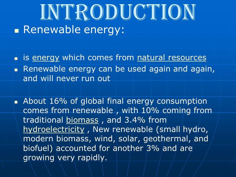 Introduction Renewable energy: