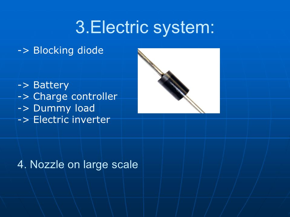 3.Electric system: 4. Nozzle on large scale -> Blocking diode