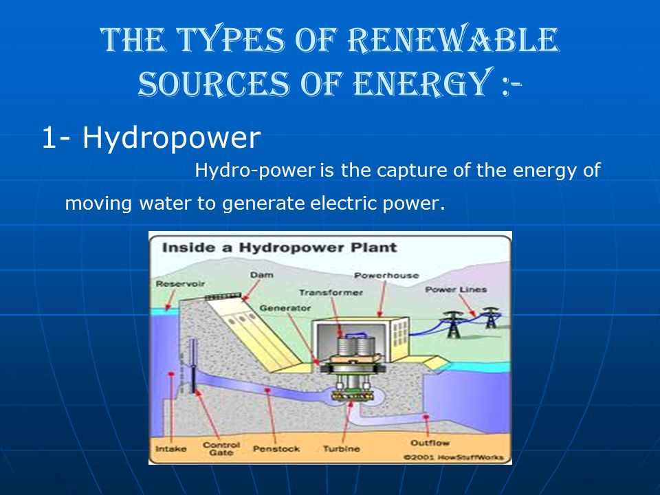 The types of renewable sources of energy :-