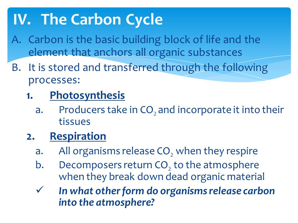The Carbon Cycle Carbon is the basic building block of life and the element that anchors all organic substances.