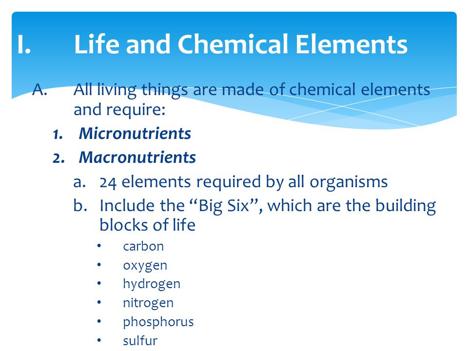 Life and Chemical Elements