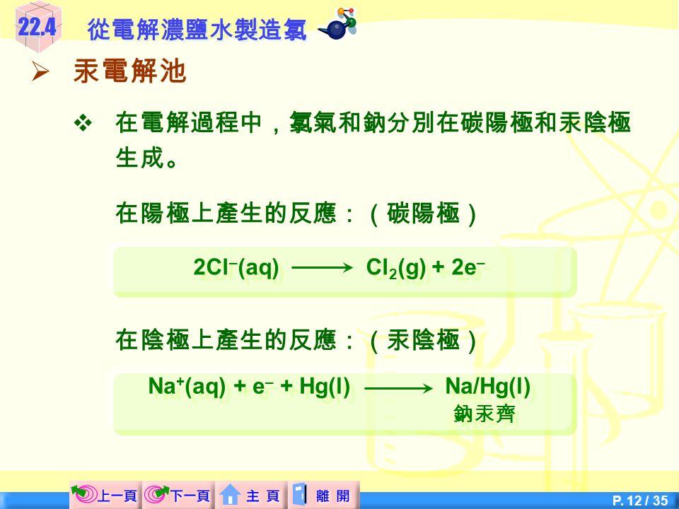 Na+(aq) + e– + Hg(l) Na/Hg(l)