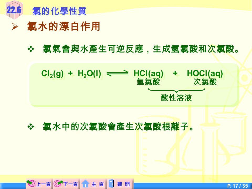 Cl2(g) + H2O(l) HCl(aq) + HOCl(aq)