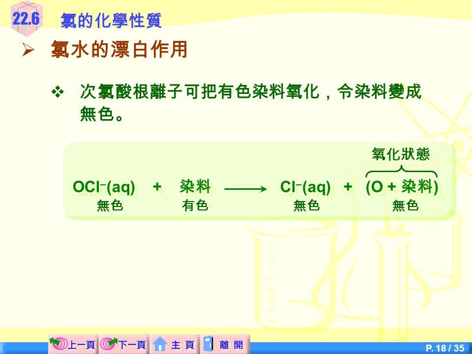 OCl–(aq) + 染料 Cl–(aq) + (O + 染料)